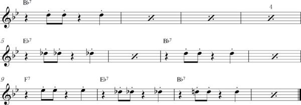 管楽器の8ビートフレーズ1