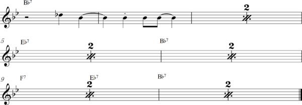 管楽器の8ビートフレーズ5Bb