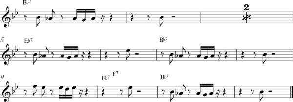 管楽器の8ビートフレーズ6Bb