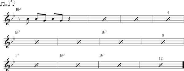 管楽器のシャッフルフレーズ12Bb