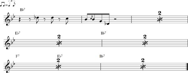 管楽器のシャッフルフレーズ9Bb